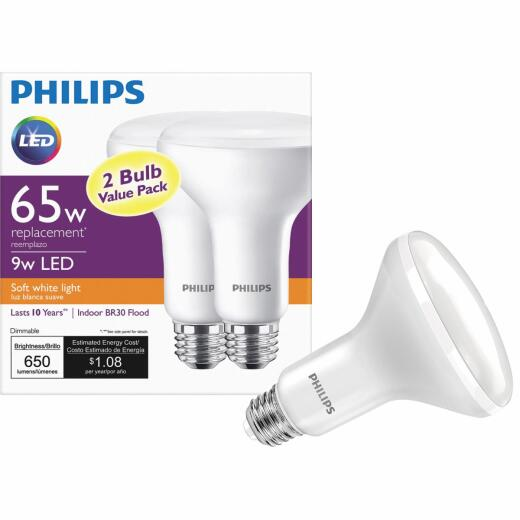Philips 65W Equivalent Soft White BR30 Medium Dimmable LED Floodlight Light Bulb (2-Pack)